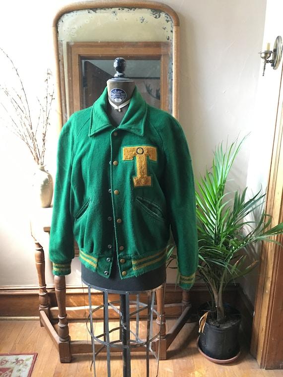 Vintage Green Letterman Jacket
