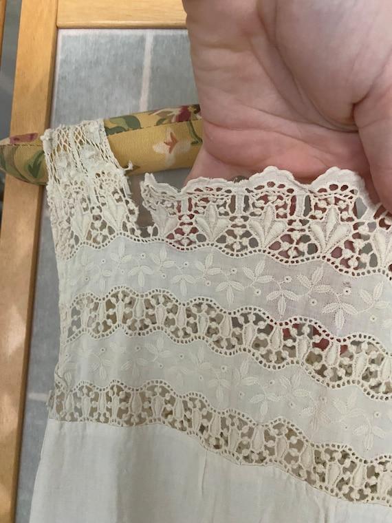 Vintage antique white cotton petticoat dress, 190… - image 2