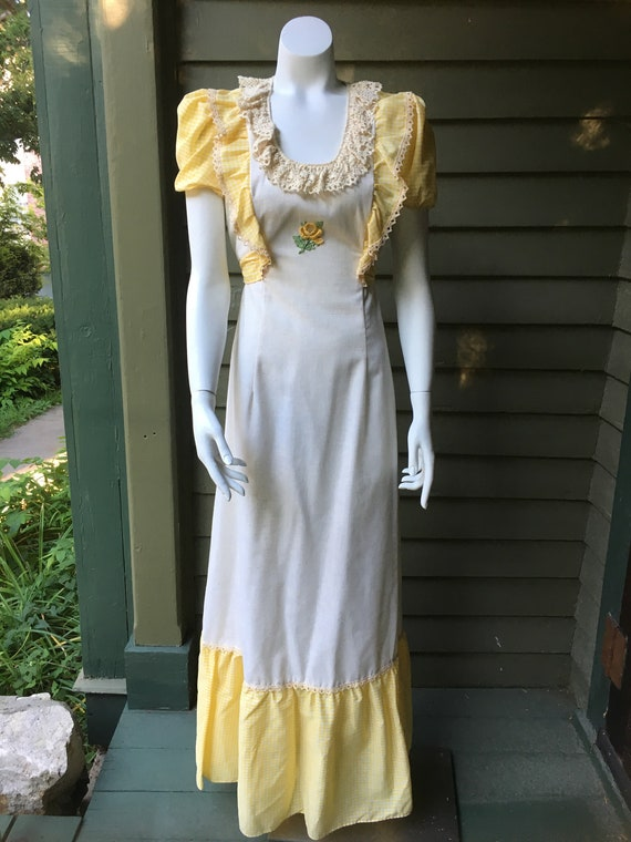 Vintage 1970's Cotton Maxi Dress - image 1