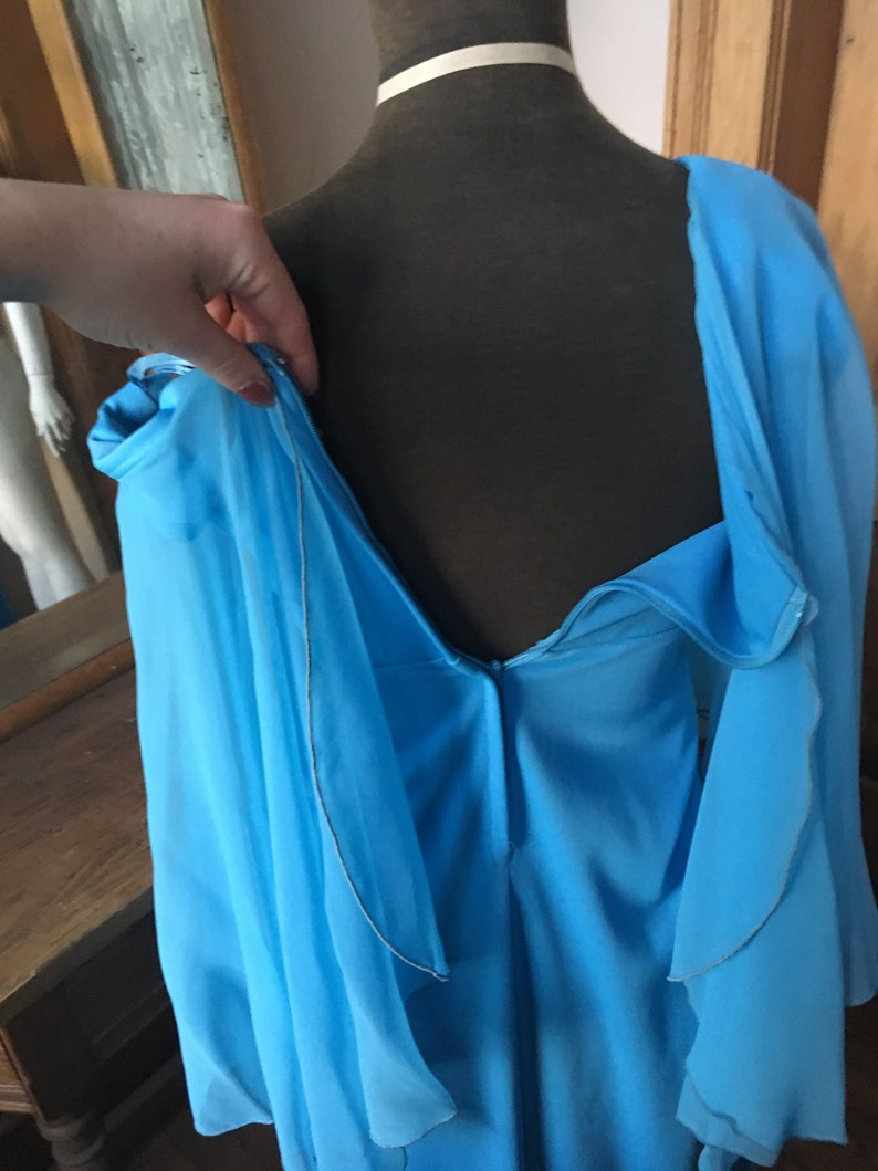 Size Small Vintage 1970/'s Blue Woven Angel Wing Dress