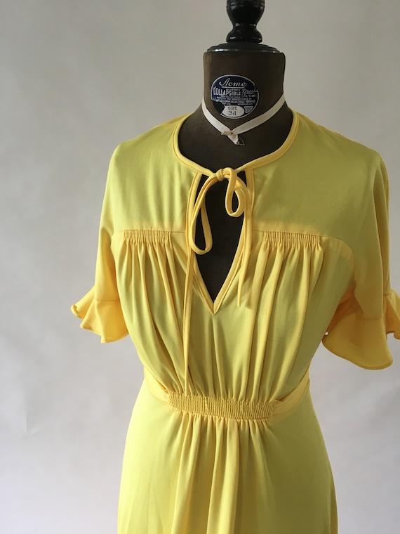 Vintage 1970's Lemon Yellow Polyester Dress size m