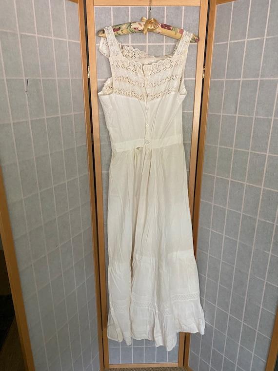 Vintage antique white cotton petticoat dress, 190… - image 7