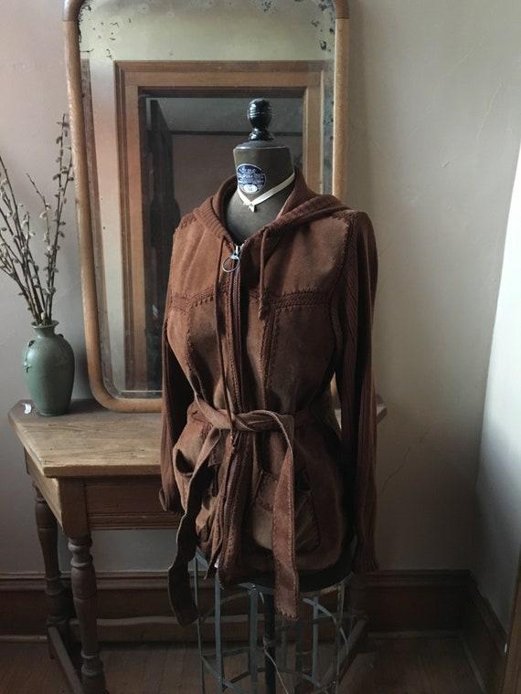 Vintage 1970's Brown Suede Patchwork Jacket with B