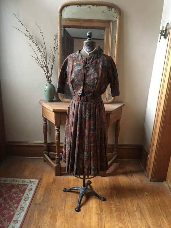 Vintage 1950's Brown and Blue Marcy Allen Dress wi
