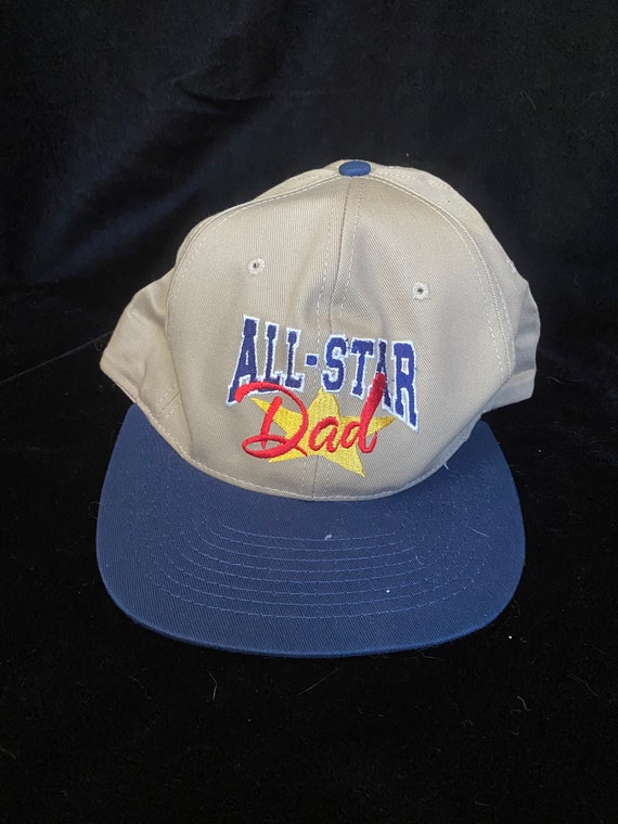 Vintage 1990's tan and blue baseball cap, all sta… - image 1