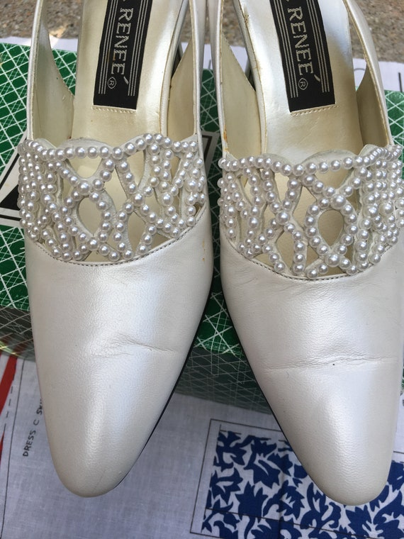 1960's White Pearly Wedding Heels