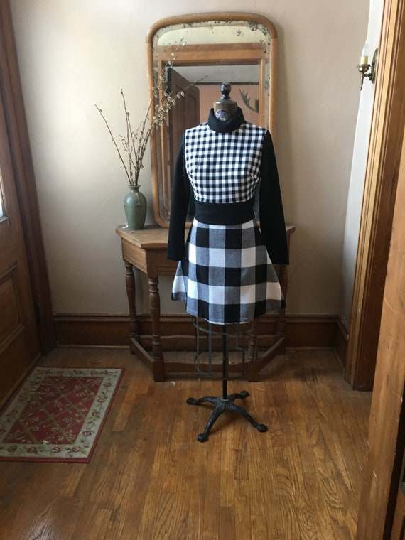 Vintage Black and White Gingham Knit Dress, Size S