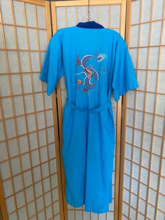 Vintage 1960's blue cotton poly kimono, chinese ro