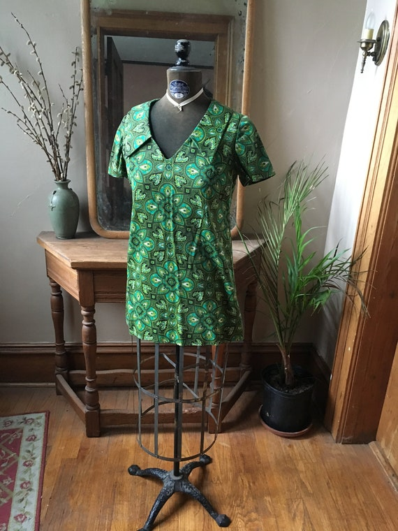 Vintage Green Psychedelic Shirt, Blouse, Tunic