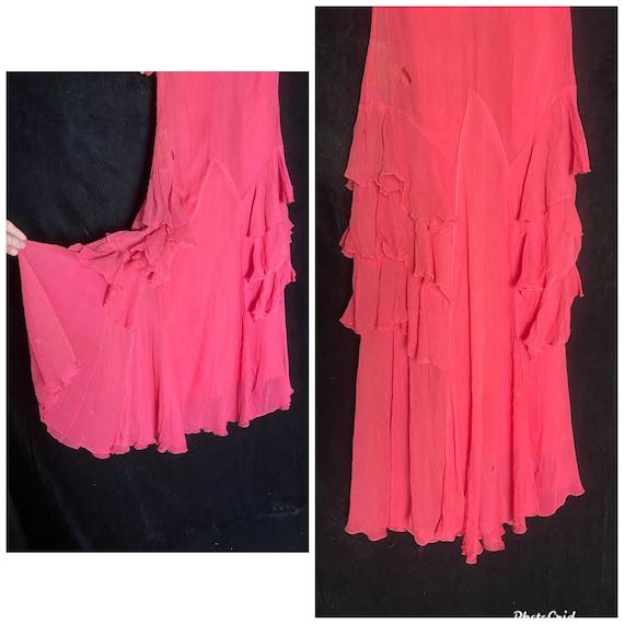 Vintage 1930's hot pink silk sheer chiffon dress … - image 2