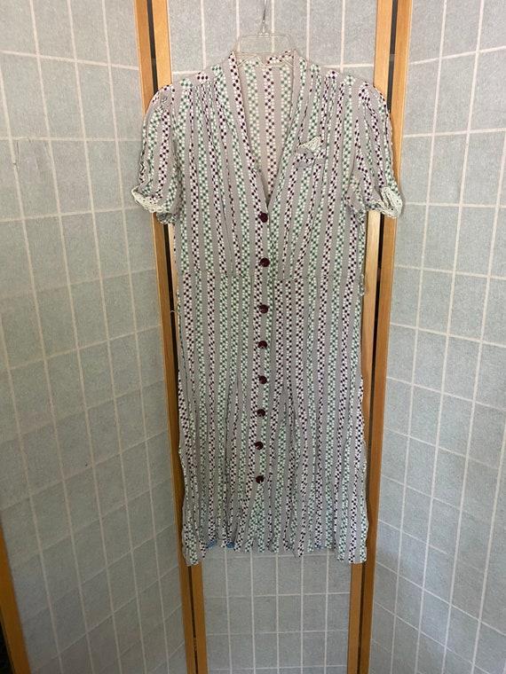Vintage 1940's gray polka dot cotton dress