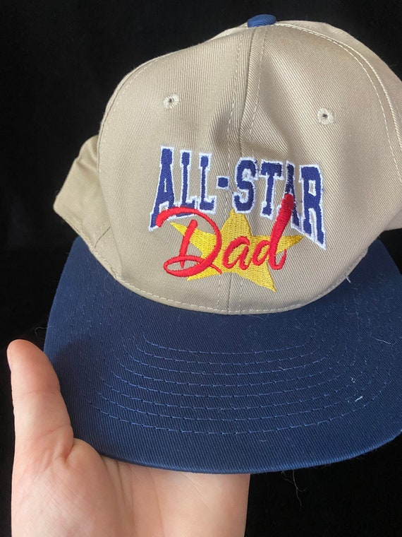 Vintage 1990's tan and blue baseball cap, all sta… - image 2