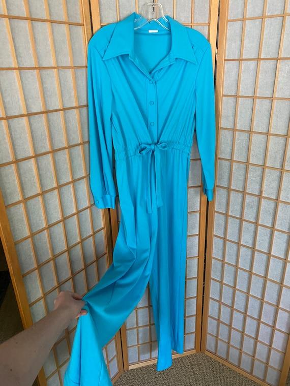 Vintage 1970's Blue Disco Jumpsuit