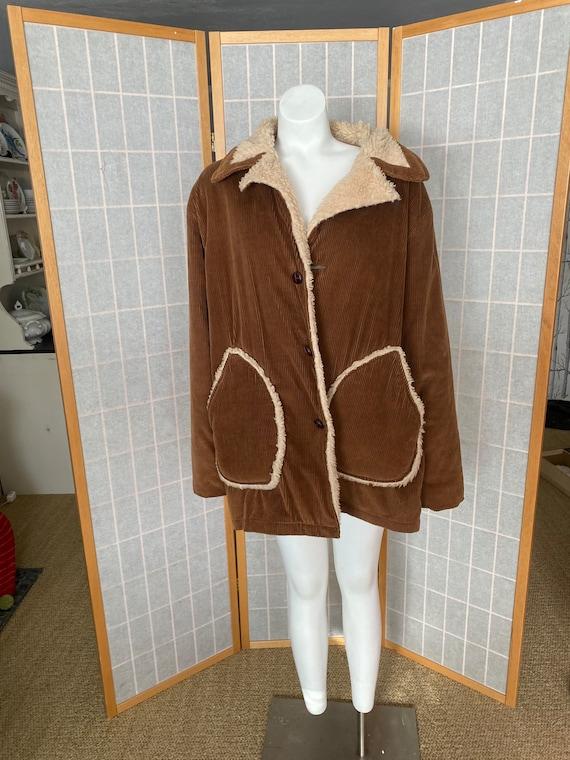 Vintage 1980's brown corduroy men's coat with fuzz