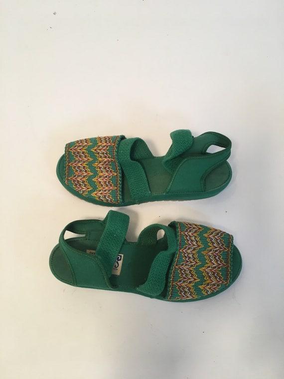 Vintage 1940's Green Platform Sandals, Size 5
