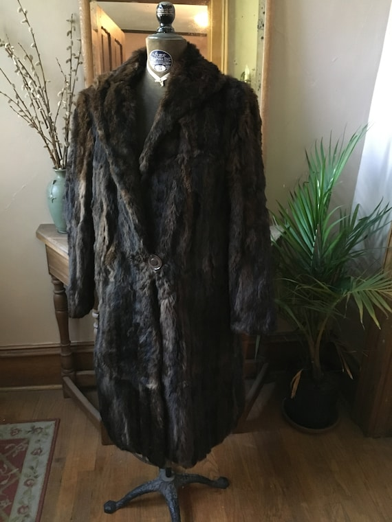 Vintage 1930's Brown Fur Coat