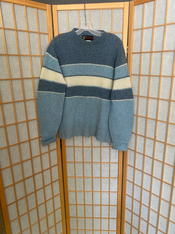 Vintage 1950's blue and white striped pullover woo
