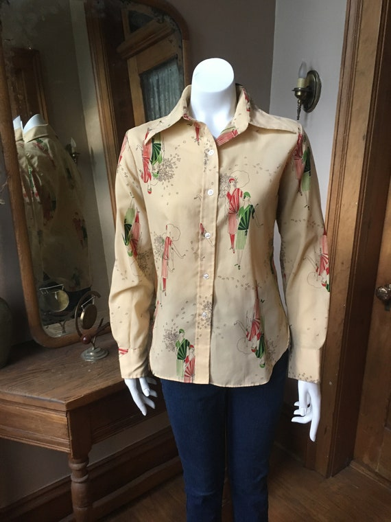 Vintage 1970's Flapper Novelty Print Shirt