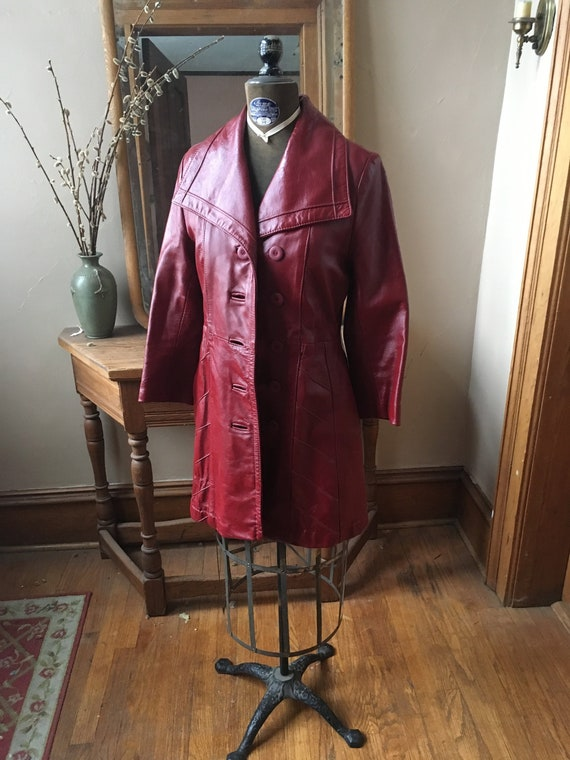 Vintage 1970's Red Leather Trench Coat