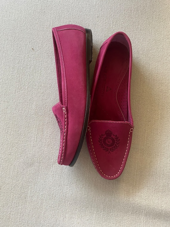 Vintage 1980's Hot Pink Fuchsia Leather Loafers, S