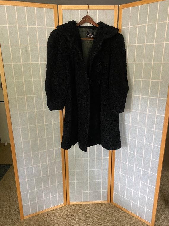 Vintage 1930's black curly lamb coat
