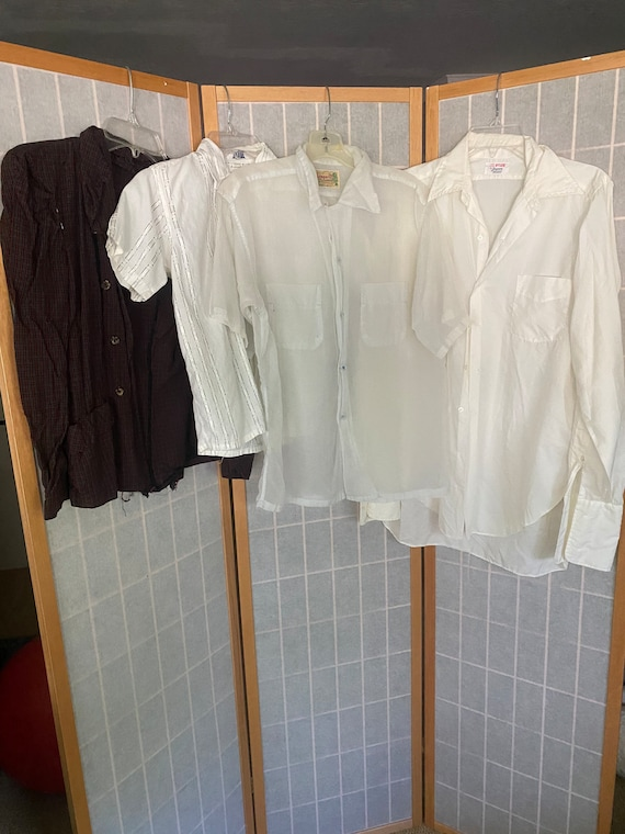 Vintage lot of men and women's shirts, tops 1950's