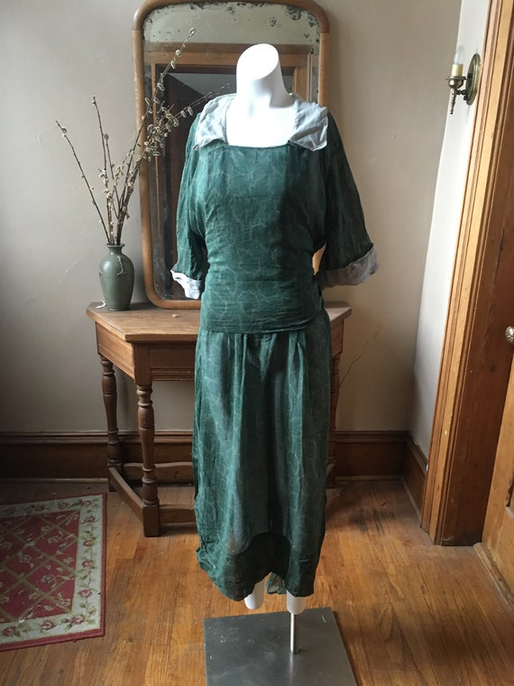 Vintage Early 1900's Sheer Green Leaf pattern Dres