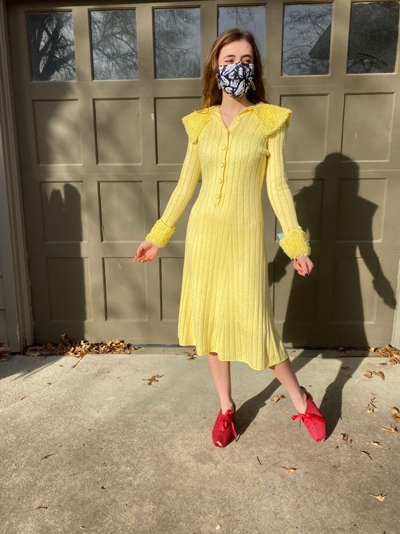 Vintage 1970's lemon yellow crochet poodle dress,