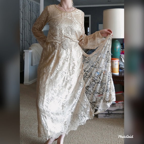Vintage 1920s lace wedding dress with beading