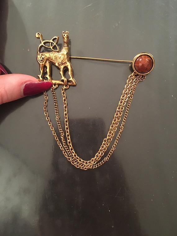 Vintage Gold Afghan Hound Dog Pin, Brooch, Sweater