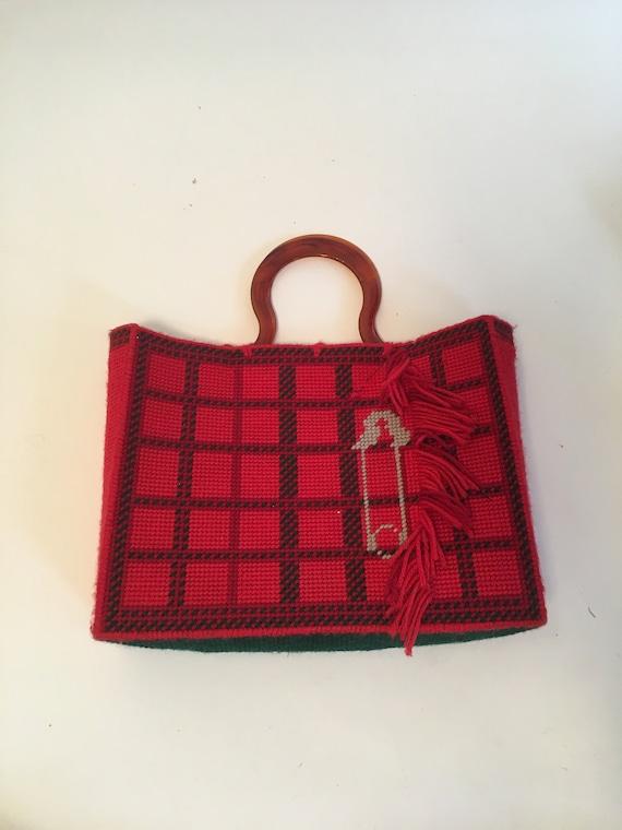 Vintage 1970's Red Plaid Woven Handmade Fringe Saf