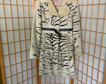 Vintage 1990's White Faux Tiger Fur Faux Suede Coat, Size Xs