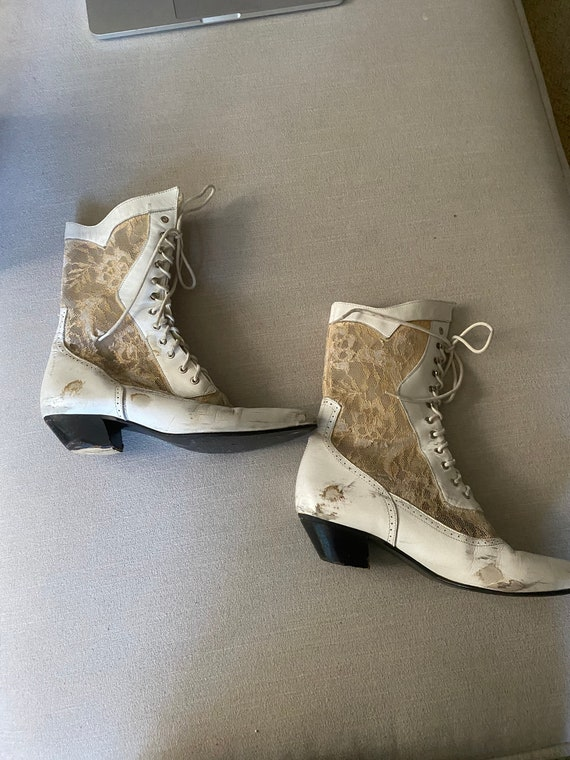Vintage 1980's White Leather And Lace Lace Up Boot