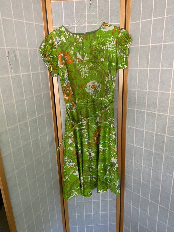 Vintage 1950's green abstract floral print dress w