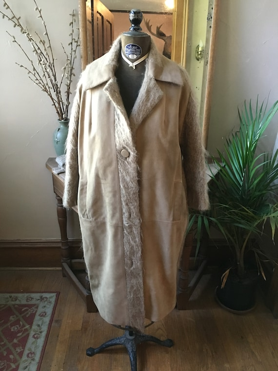 Vintage Tan Camel Knit and Suede Coat