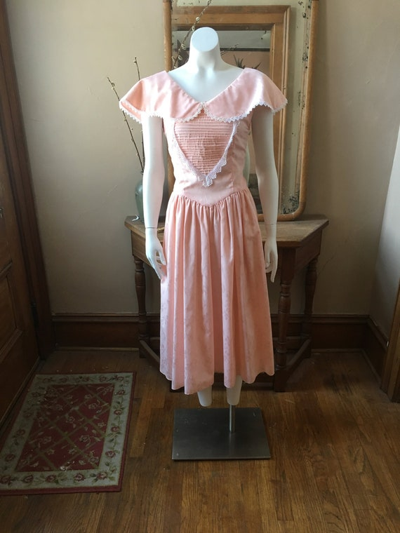 Vintage 1980's Pink and White Dress, Size XS