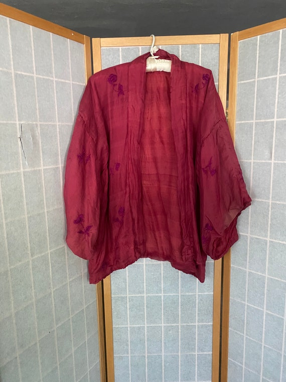 Vintage antique 1920's red silk embroidered kimono