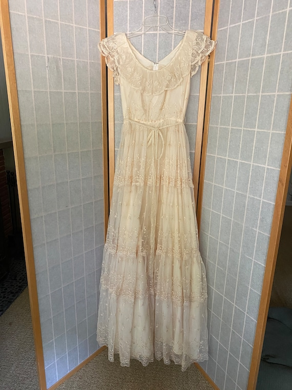 Vintage 1970's cream lace tiered maxi dress