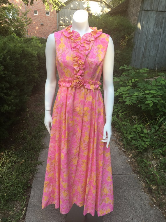 Vintage 1960's/70's Pink and Yellow Floral Maxi Dr
