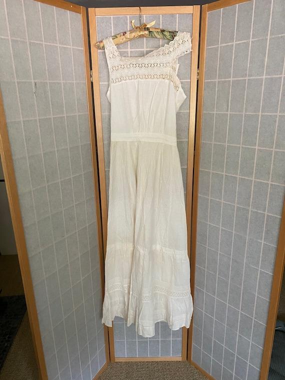 Vintage antique white cotton petticoat dress, 190… - image 1