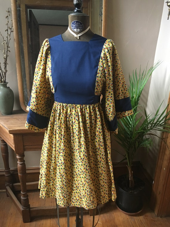 Vintage Yellow and Blue Floral Cotton Smock Dress,