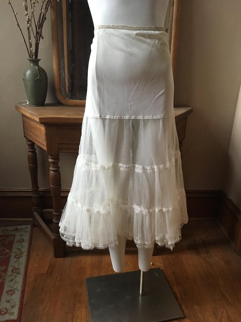 Vintage White Drop-Waist Full Tulle Crinoline Half Slip Petticoat Under Skirt