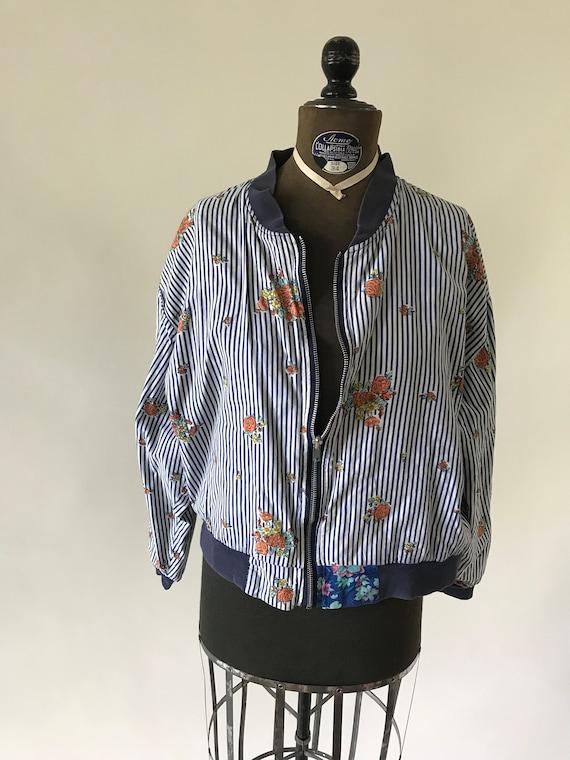 Vintage 1980s floral striped blue zip up jacket