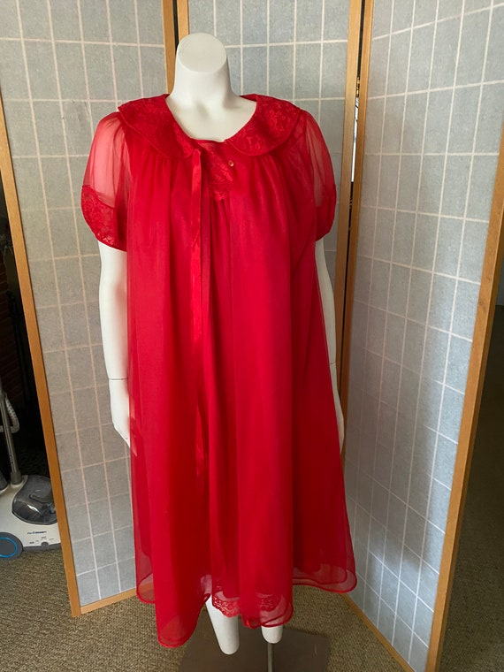 Vintage 1950's red nylon and lace lingerie, peigno