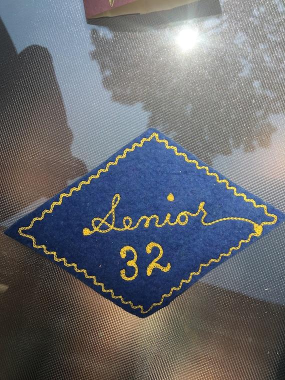 Vintage Blue Wool Felt Senior 1932 Patch