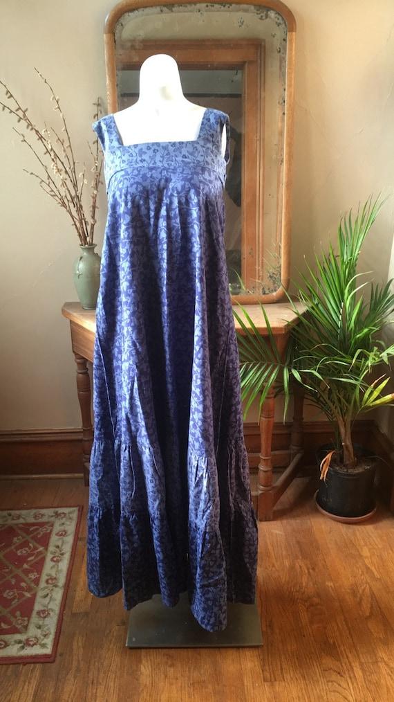 Vintage 1970's Blue floral Cotton Maxi Dress