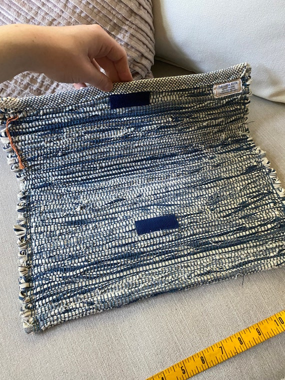 Vintage 1990's Blue And White Loom Clutch Purse