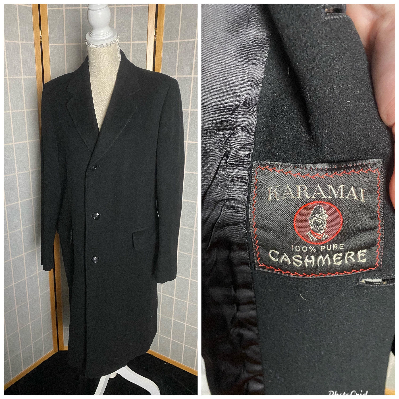 1950s Mens Hats | 50s Vintage Men's Hats Vintage 1950s Black 100 Cashmere Mens Coat, Karamai $185.00 AT vintagedancer.com