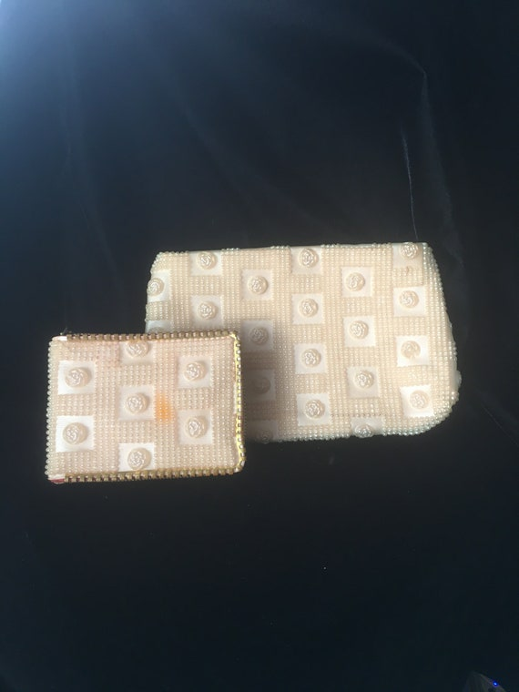 Vintage 1960's Plastic Rose Bead Wallet and Clutch