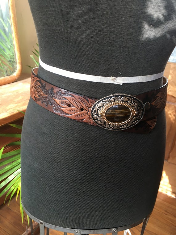 Vintage Tooled Leather Belt with Stone Belt Buckle - image 1